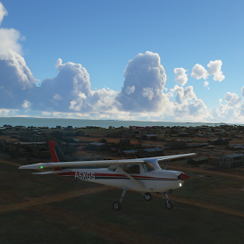Screenshot of plane and weather from Microsoft Flight Simulator 2020